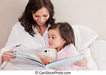 histoire, lecture, fille, elle, mère