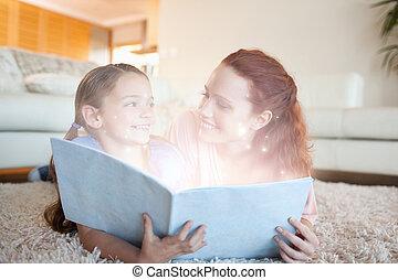 histoire, lecture, fille, mère