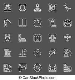 histoire, linéaire, icônes