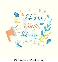 histoire, média, part, social, promotion, bannière, ton