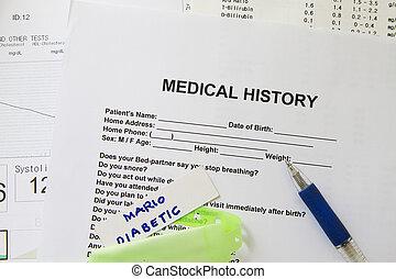 histoire médicale, formulaire