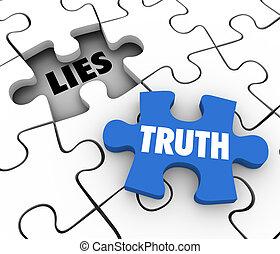 histoire, mots, puzzle, honnête, mensonges, vs, concourir, vérité, faits, morceau, entier