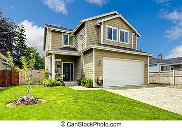 histoire, yard, maison, deux extérieur, devant, paysage
