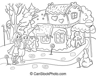 historia, colorido, comida, colorido, algunos, escena, profundo, dulces, vector, par, bosque, infantil, cabaña, niños