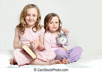 historia, dzieciaki, rutyna, bedtime, book.
