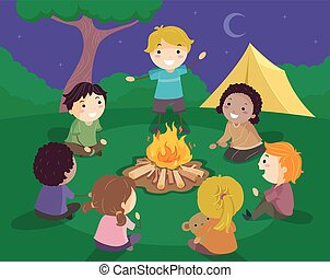 historia, dzieciaki, stickman, ogień, obóz, ilustracja, mówienie