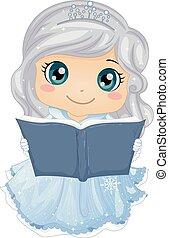 historia, ilustración, libro, hielo, niña, princesa, niño