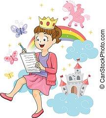 historia, ilustracja, pisanie, opowiadanie, wróżka, dziewczyna, koźlę