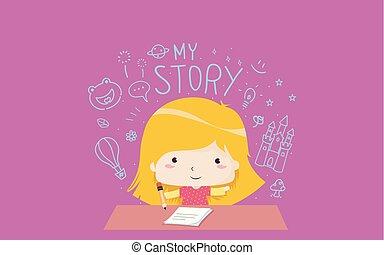 historia, ilustracja, twórczy, dziewczyna, pisanie, koźlę