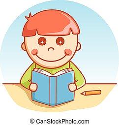 historia, lectura, niño