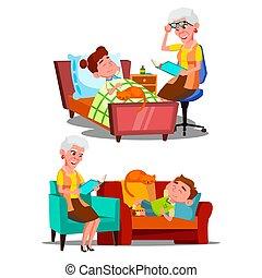 historia, noc, babcia, wektor, czytanie książka