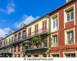 historic épület, alatt, a, francia negyeddolláros