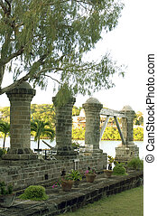 historic 1797 Boat House Pillars Nelson's Dockyard English Harbor Antigua West Indies Caribbean Island
