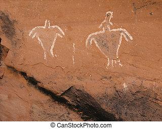 Historic Anasazi Figure Pictograms