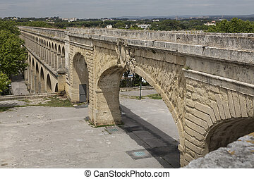 Historic aqueduct in Montpellier, Southern France