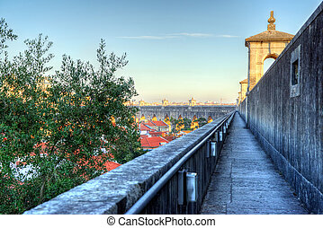 historic aqueduct in the city of Lisbon built in 18th...
