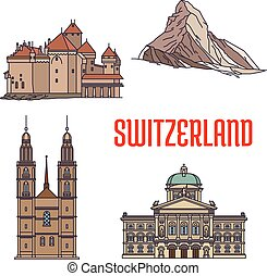 Historic architecture buildings of Switzerland. Detailed...