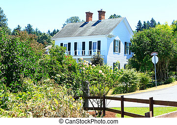 Historic architecture in Steilacoom town. Washington state