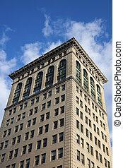 Historic architecture of Lexington against blue sky
