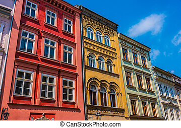 Historic architecture of the old town in Krakow, Poland