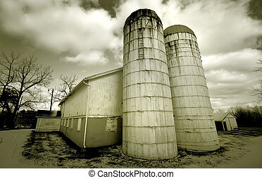 Wide angle shot of historic barn in black and white