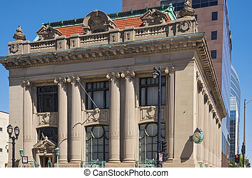 historic building entrance and facade of beaux arts architecture in milwaukee