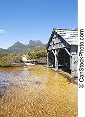 Historic boat shed at Cradle Mountain Tasmania - Scenic...