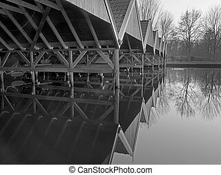 historic boathouse - Interior of a historic boathouse at a...