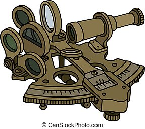 Historic brass sextant - Hand drawing of a historic sextant
