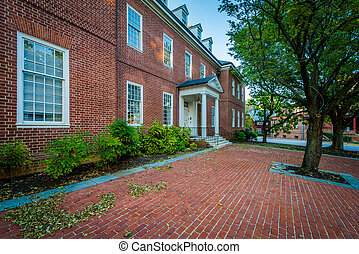Historic brick building in downtown Annapolis, Maryland.