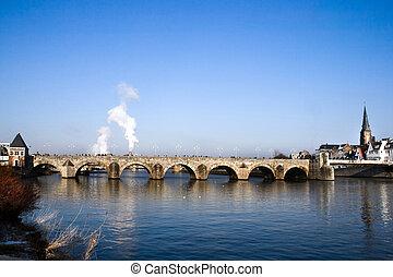 Historic bridge over the river - Historic...