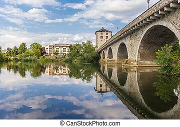 Historic bridge over the river Lahn in Limburg