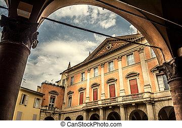 Historic building in Piazzatta Ardigo in Bologna