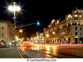 Historic building in the center of Moscow (Metropol Hotel) at night, Russia