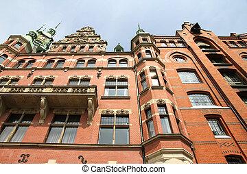 Historic building in the Speicherstadt in Hamburg