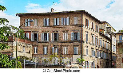 Historic building of Siena city, Italy
