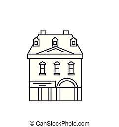 Historic building thin line icon concept. Historic building linear vector sign, symbol, illustration.