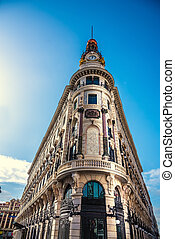 Historic building under a clear sky in Madrid