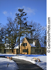 Historic Building - visitors center on bright winter day in ...