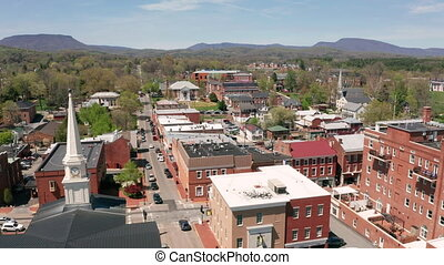 Historic Buildings Aerial Perspective Lexington Virginia USA...