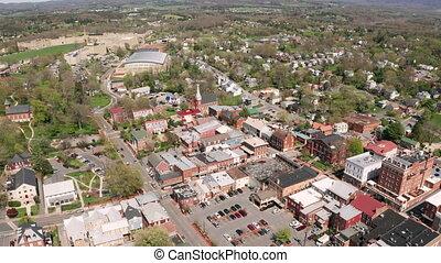 Historic Buildings Aerial Perspective Lexington Virginia USA...