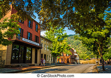 Historic buildings along Shenandoah Street in Harper's Ferry, West Virginia.