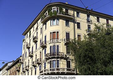 Historic buildings along via San Michele del Carso in Milan