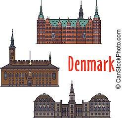 Historic buildings and architecture of Denmark. Christiansborg Palace, Frederiksborg Castle, Copenhagen City Hall. Danish showplaces detailed icons for print, souvenirs, postcards, t-shirts