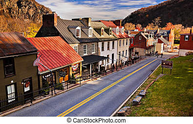 Historic buildings and shops on High Street in Harper's Ferry