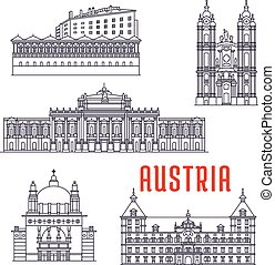 Historic architecture buildings of Austria. Vector thin line icons of Kirche am Steinhof, Ambras Castle, Melk Abbey, Eggenberg Palace, Burgtheater. Austrian showplaces symbols for souvenirs, postcards, decoration