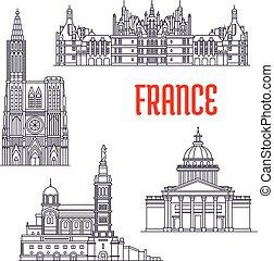 Historic architecture buildings of France. Vector thin line icons of Pantheon, Chateau de Chambord, Basilique Notre Dame de La Garde, Strasbourg Cathedral. French showplaces symbols for souvenirs, postcards