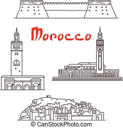 Historic landmarks, sightseeings and buildings of Morocco. Vector thin line icons of Koutoubia Mosque, Ait Ben Haddou, Hassan II Mosque, Agadir Kasbah fortress for souvenir decoration