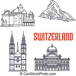 Historic sightseeings and buildings of Switzerland. Vector icons of Federal Palace, Matterhorn, Chillon Castle, Grossmunster. Swiss showplaces symbols for souvenirs, postcards, t-shirts