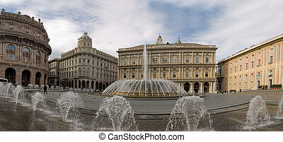 De Ferrari - historic buildings, De Ferrari square in Genoa,...